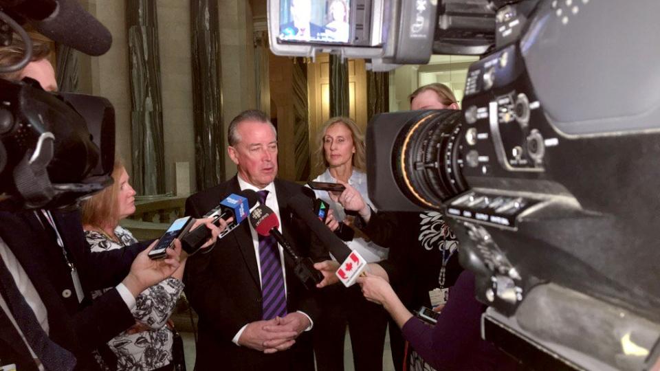 Saskatchewan MLA Don McMorris speaks to media March 6, 2017. (Gareth Dillistone/CTV Regina)