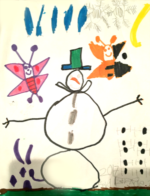 Weather art by Sahil, age 3.