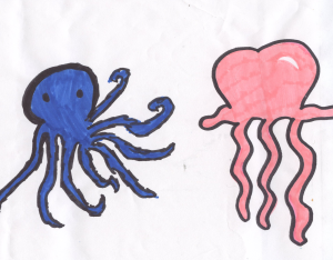 Weather art by Marissa, age 7.