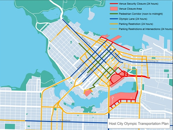 A map of Vancouver shows road closures that will be in effect during the 2010 Winter Olympics. March 12, 2009.