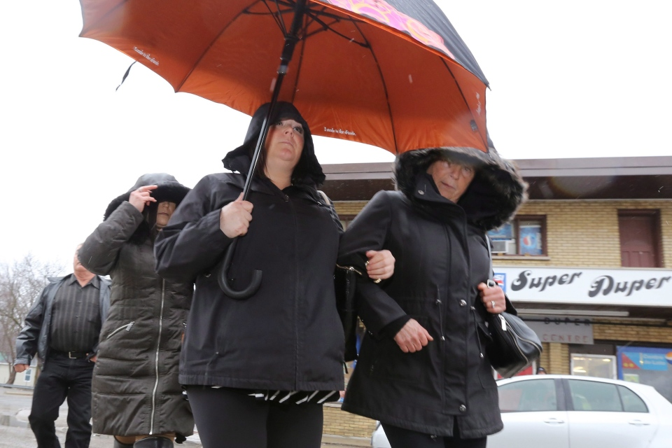 Ontario teacher Jaclyn McLaren (left) arrives at the Quinte Courthouse in Belleville, Ont., on Tuesday, March 7, 2017. (THE CANADIAN PRESS/Lars Hagberg)