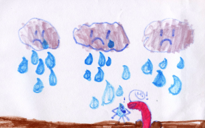 Weather art by Holly, age 7, from Elsie Roy Elementary.