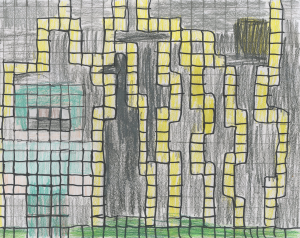 Weather art by Kurtis, age 9, from Stratford Hall.