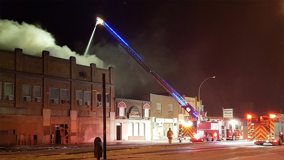 Fire broke out at the Travellers Building on Broad Street around 10:00 p.m. on March 7. (ASHLEY FIELD/CTV REGINA)