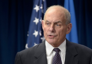 U.S. Homeland Security Secretary John Kelly makes a statement on issues related to visas and travel, Monday, March 6, 2017, at the U.S. Customs and Border Protection office in Washington. (AP Photo/Susan Walsh)