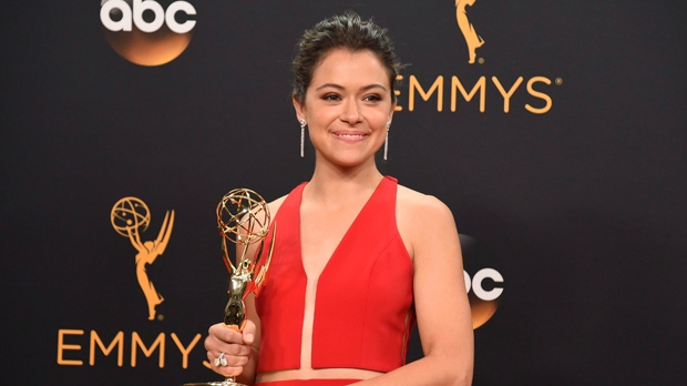 "Canadian actress Tatiana Maslany, winner of the award for outstanding lead actress in a drama series for ""Orphan Black"" poses in the press room at the 68th Primetime Emmy Awards on Sunday, Sept. 18, 2016, at the Microsoft Theater in Los Angeles. (Photo by Jordan Strauss/Invision/AP)"