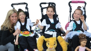 Dana Florence (left) is the Toronto mother of triplets with cerebral palsy who founded Three to Be, a charity supporting children with neurological disorders. (Three to Be)