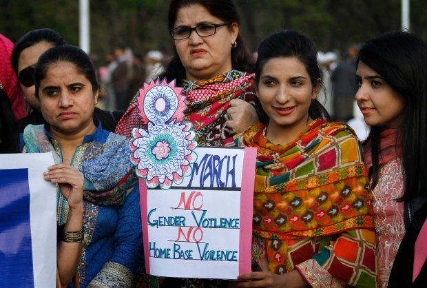 Pakistani women take part in a demonstration to mark International Women's Day, in Islamabad, Pakistan, Wednesday, March 8, 2017. (AP Photo/Anjum Naveed)