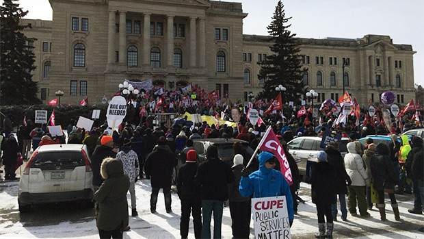Hundreds turned out to protest possible public sector cuts on March 8, 2017. (GARETH DILLISTONE/CTV REGINA)