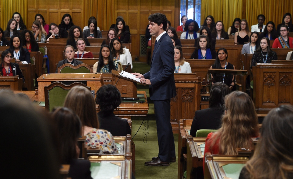 Prime Minister Justin Trudeau delivers a speech and answers questions at a Daughters of the Vote (DOV) event, organized by Equal Voice Canada, in the House of Commons on Parliament Hill in Ottawa on Wednesday, March 8, 2017. (Sean Kilpatrick / THE CANADIAN PRESS)
