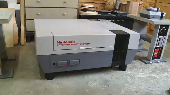 One of Jeremy Reiger's larger than life Nintendo coffee tables is shown.