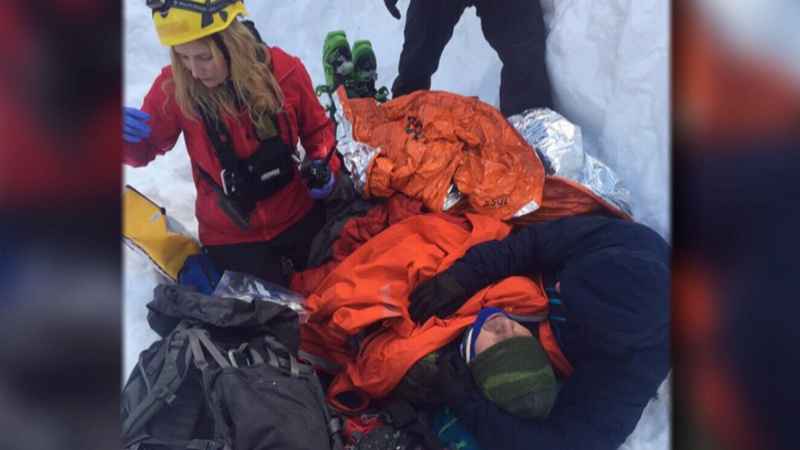 Strangers helped dig out the skier, and kept him warm until help arrived on Hollyburn Mountain.