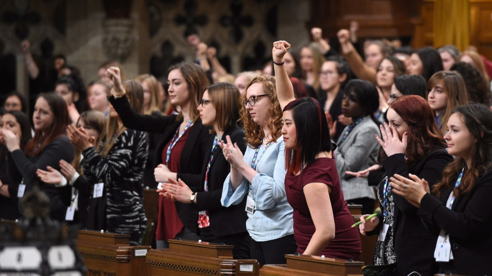 A Daughters of the Vote (DOV) event, organized by Equal Voice Canada, takes place in the House of Commons on Parliament Hill in Ottawa on Wednesday, March 8, 2017. (THE CANADIAN PRESS/Sean Kilpatrick)