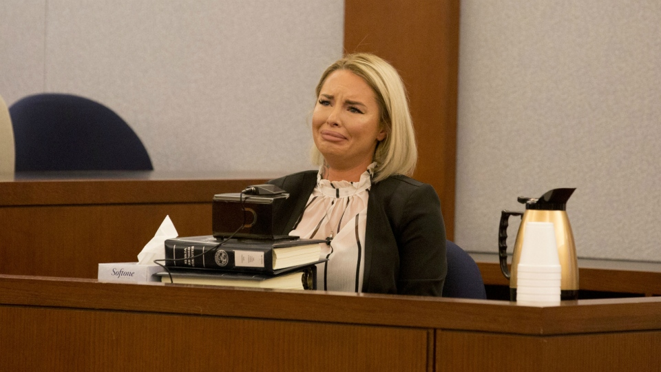 Christine Mackinday, the victim and ex-girlfriend of former mixed martial arts fighter War Machine, also known as Jonathan Koppenhaver, gives her testimony during his sexual assault and attempted murder at the Regional Justice Center in Las Vegas on Wednesday, March 8, 2017. (Elizabeth Brumley / Las Vegas Review-Journal)