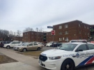 Police cruisers are shown at the scene of a stabbing at an apartment building in Regent Park on Thursday. (Courtney Heels/CP24.com)