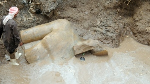 A giant statue of Ramses II is seen being unearthed in a Cairo slum on Thursday, March 9, 2016. (Luxor Times)