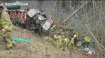 Driver seriously hurt as truck lands in embankment