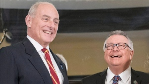 U.S. Secretary of Homeland Security John Kelly, left, stands with Minister of Public Safety Ralph Goodale on Parliament Hill on March 10, 2017 in Ottawa. (Justin Tang / THE CANADIAN PRESS)