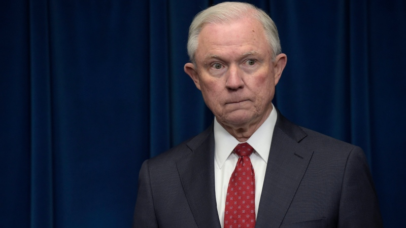 In this file photo, former U.S. Attorney General Jeff Sessions waits to make a statement at the U.S. Customs and Border Protection office in Washington, on March 6, 2017. (AP Photo / Susan Walsh)