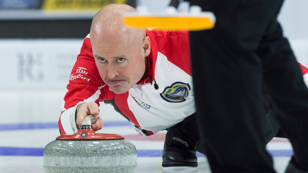 Team Canada skip Kevin Koe at the Brier