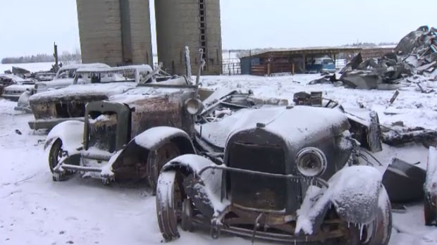 Classic cars damaged by a Thursday afternoon fire on Bert Curtiss' rural property near Olds, Alberta