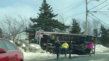Wind topples truck in Paradise, Newfoundland