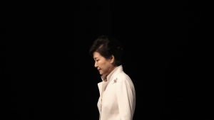 South Korean President Park Geun-hye is shown after a ceremony in Seoul, South Korea on March 1, 2016. (AP / Ahn Young-joon)