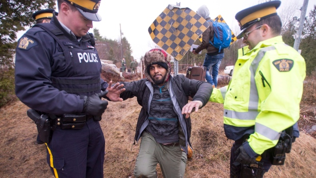 Asylum seeker at Quebec border