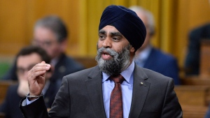 Defence Minister Harjit Sajjan rises during Question Period on Parliament Hill, Friday, March 10, 2017 in Ottawa. (THE CANADIAN PRESS/Justin Tang)