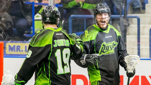 Saskatchewan Rush forward Ben McIntosh celebrates a goal against the Colorado Mammoth during a Saturday, March 12, 2017, game at the SaskTel Centre in Saskatoon. (NLL/GetMyPhoto.ca)