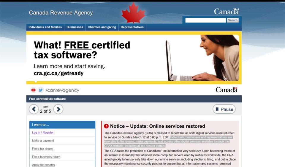 The CRA's online tax services were restored as of 5 p.m. ET Sunday.