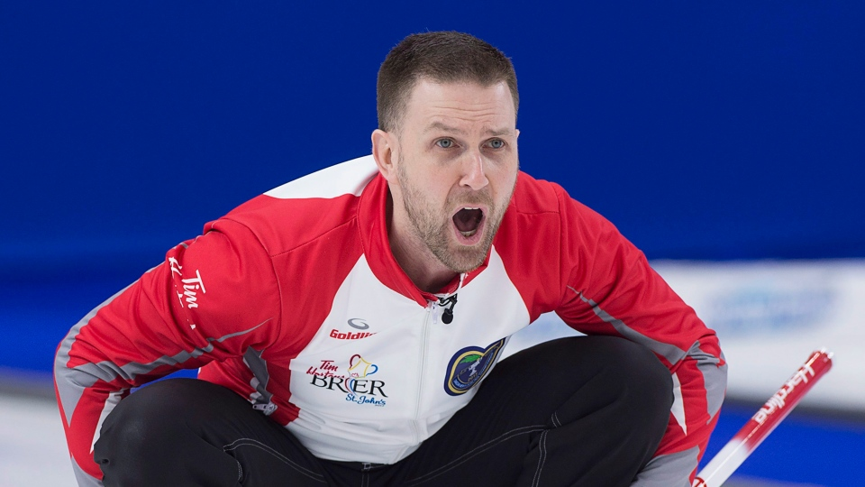 Newfoundland and Labrador skip Brad Gushue calls the sweep against Team Canada in gold medal action at the Tim Hortons Brier curling championship at Mile One Centre in St. John's on Sunday, March 12, 2017. (THE CANADIAN PRESS/Andrew Vaughan)
