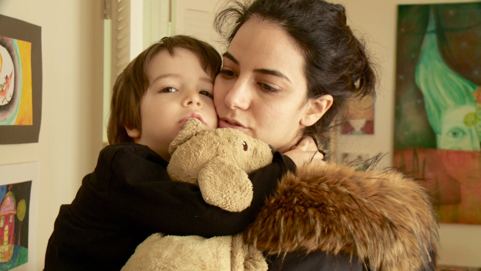 3-year-old Noah with mom Maya Akra.