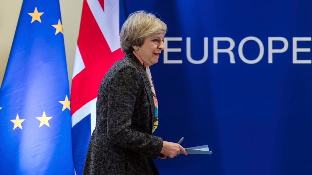 British PM Theresa May at an EU summit in Brussels