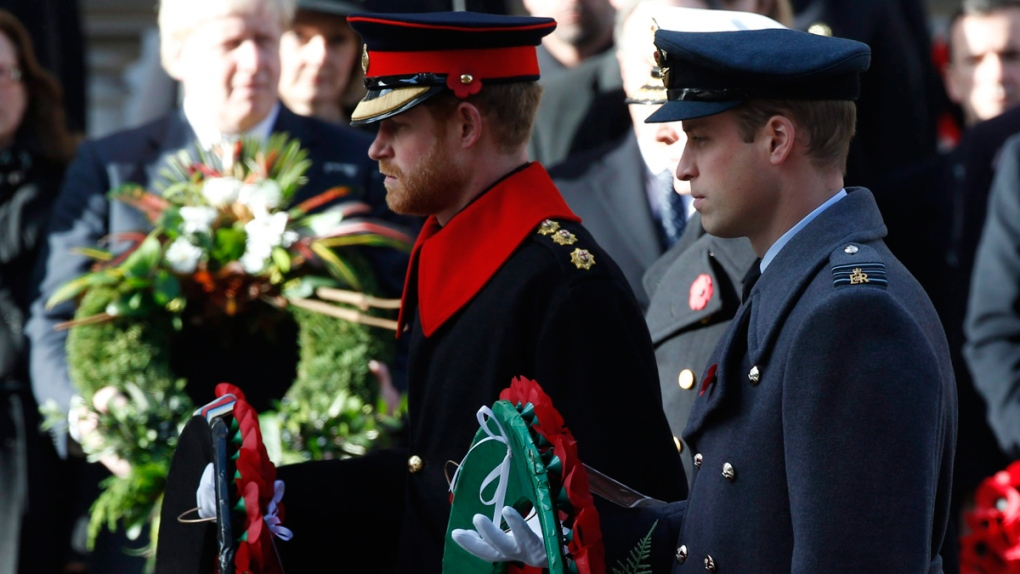 Princes William & Harry at the Cenotaph in London