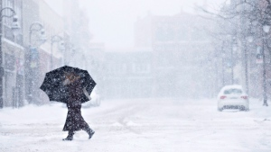 A woman walks downtown in St. Catharines, Ont., as a winter storm blankets the Niagara region on Tuesday, March 14, 2017. (Aaron Lynett / THE CANADIAN PRESS)