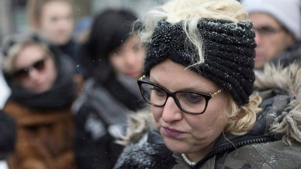 Mandi Gray stands with supporters as she talks with media outside court in Toronto on Tuesday, March 14, 2017, as Mustafa Ururyar appeals his conviction and sentence on the sexual assault of Ms. Gray. (THE CANADIAN PRESS/Chris Young)