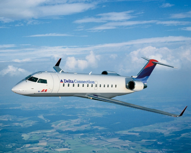 A Delta Airlines Bombardier CRJ-100, similar to this undated file photo, landed safely in Atlanta after what officials believe were two birds.
