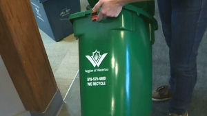 A Region of Waterloo green bin is pictured in this file image taken from video.