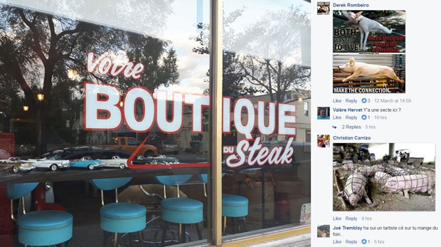 Marc Bourg owns Marchand du Bourg butcher shop. He says he's being harassed on his Facebook page.