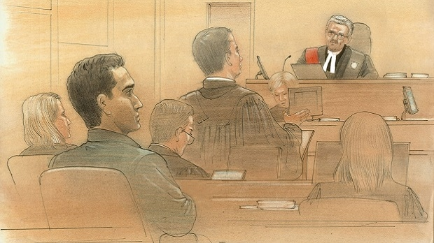 Defence attorney Mark Halfyard speaks to Justice Michael Dambrot on March 14, 2017. (Sketch by John Mantha)