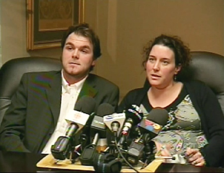 Stephane Mantha and Marie-Eve Laurendeau speak at a press conference in Quebec, Friday, March 13, 2009.