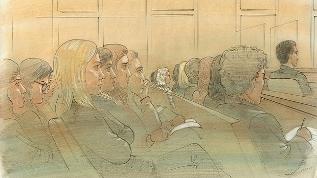 Mandi Gray sits in the centre of the courtroom while the man convicted of sexually assaulting her appeals his conviction. (Sketch by John Mantha)