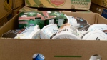 A box of food stored at Moisson Outaouais in Gatineau, March 14, 2017