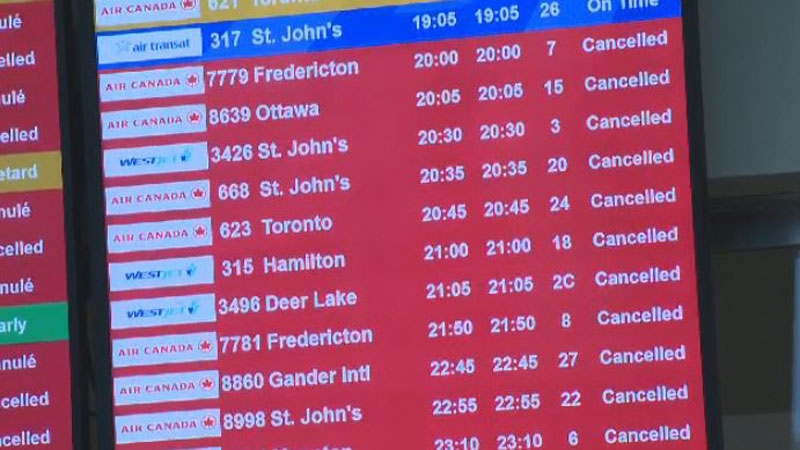 A powerful nor'easter has cancelled and delayed a number of flights at the Halifax Stanfield International Airport.