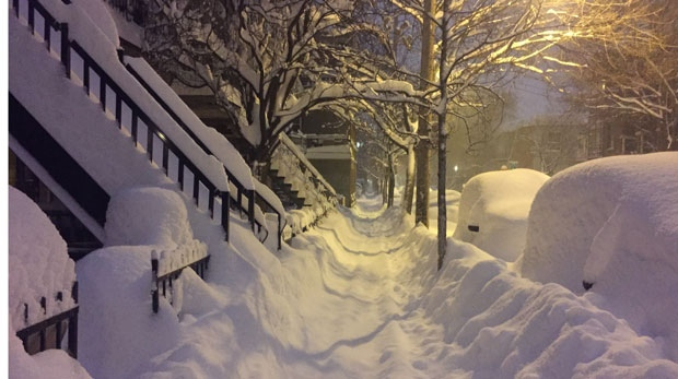 Snow on Clark St. in Mile End (photo: Amy Luft / CTV Montreal)