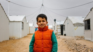 Hamza is 10 years old and from Damascus, Syria. He said his greatest fear is airstrikes and his dream is to become a pilot. (World Vision)