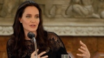 FILE - In this Feb. 18, 2017, file photo, actress Angelina Jolie gives a press conference in Siem Reap province, Cambodia. Jolie gave a lecture at the London School of Economics on March 15, 2017, as a preview of a course she'll be teaching at the prestigious school in the fall. (AP Photo/Heng Sinith, File)