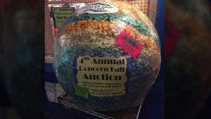 The Chagrin Falls Popcorn Shop posted a photo of the missing popcorn ball on its Facebook page on Tuesday. (Chagrin Falls Popcorn Shop / Facebook)