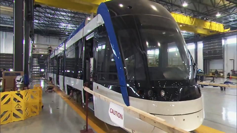 The second of 14 vehicles to be built for Waterloo Region's Ion LRT system is seen at the Bombardier plant in Kingston on Wednesday, March 15, 2017.